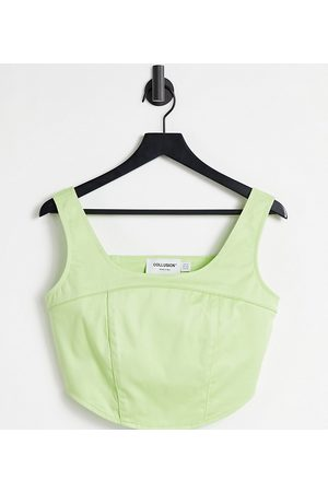 COLLUSION Seamed corset top in green