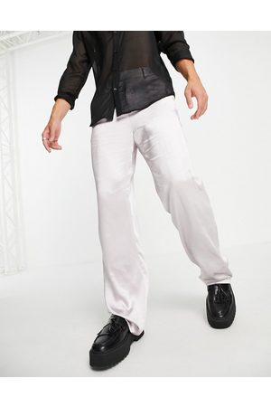 ASOS DESIGN Satin wrap detailing wide leg suit trousers in silver