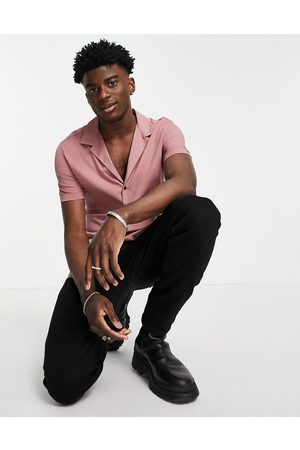 ASOS DESIGN Skinny viscose shirt with revere collar in dusky pink