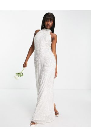Beauut Mujer Vestidos de noche - Bridal embellished sequin maxi dress with open back in white