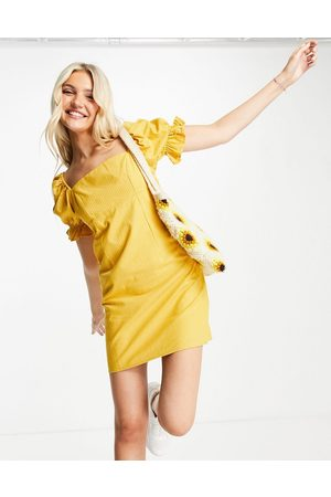 Skylar Rose Square neck gingham mini dress with gathered sleeves in yellow