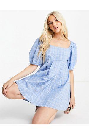 Skylar Rose Puff sleeve mini skater dress in ginham