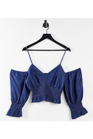 Urban Bliss Mujer Tops strapless - Sheered off shoulder top in blue