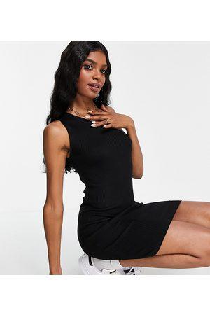 Threadbare Tall Aria one shoulder knitted mini dress in black