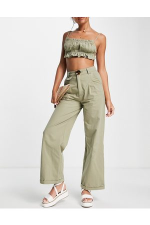 Skylar Rose Wide leg trousers with strappy crop top set in khaki