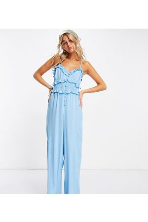 Reclaimed Vintage Inspired cami jumpsuit with button front in blue