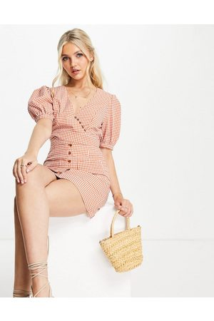 Skylar Rose 2 piece gingham skirt with puff sleeve top set in rust