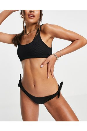 & OTHER STORIES Recycled polyester textured tie side bikini bottoms in black