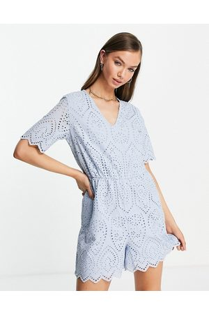 Y.A.S Organic cotton broderie playsuit in pale blue
