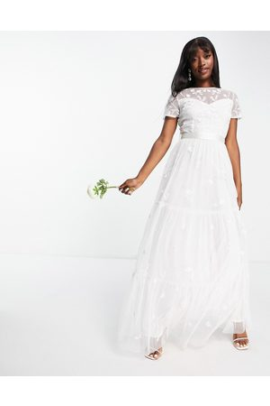 Beauut Bridal embroided maxi dress with tulle skirt in ivory