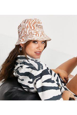 Reclaimed Vintage Inspired bucket hat in toffee zebra print
