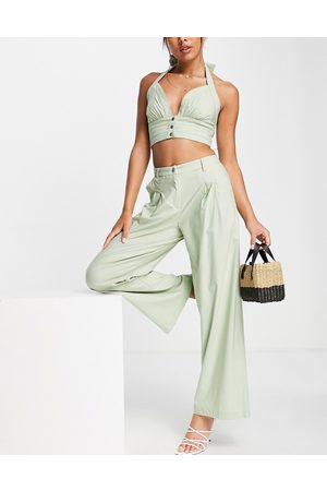 Skylar Rose 2 piece wide leg trousers with halter neck crop top set in sage green