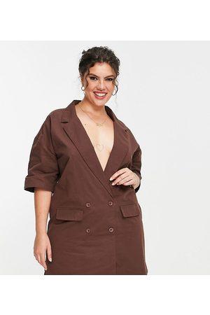 Lola May Curve Lola May Plus mini blazer dress in brown