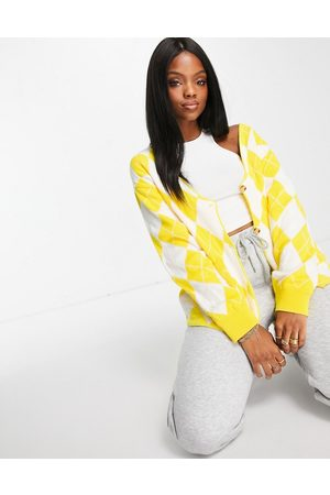 Unique 21 Argyle long sleeve cardigan in yellow