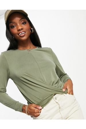 Only Free life long sleeve twist front jersey top in green