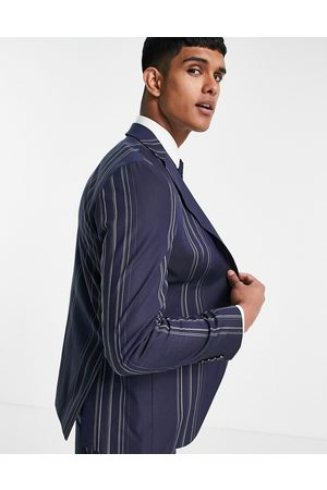 SELECTED Slim fit suit jacket in navy and white stripes