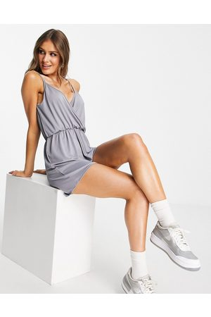 Threadbare Wrap front cami strap jersey playsuit in grey