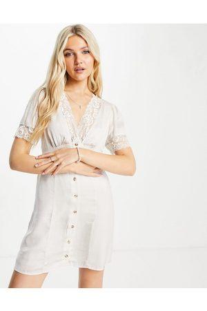 Skylar Rose Satin mini dress with lace trim in cream