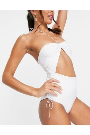 ASOS 00s micro strapping bandeau swimsuit in pure white
