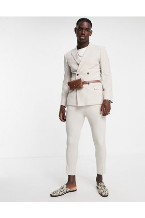 ASOS DESIGN Skinny double breasted suit jacket in stone with belt bag