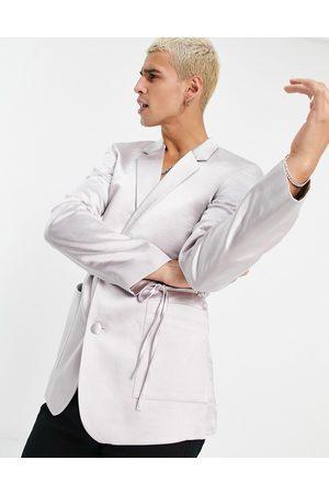 ASOS DESIGN Slim satin wrap detailing suit jacket in silver