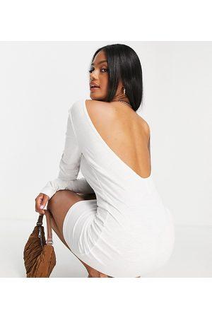 AsYou Low back jersey mini dress in white