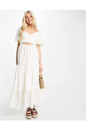 Skylar Rose Puff sleeve tiered maxi dress with tie back in cream