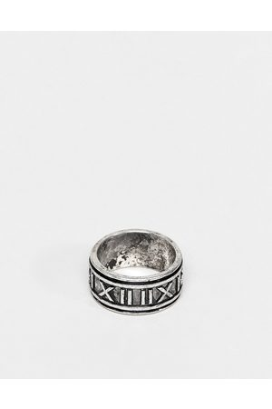 ASOS DESIGN Band ring with roman numerals in burnished silver tone