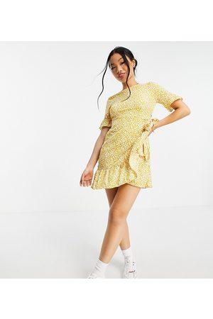 Vero Moda Petite Frill mini dress in yellow spot