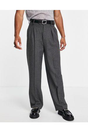 ASOS High waist wide leg suit trouser in charcoal herringbone