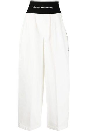 Alexander Wang Pantalones anchos con logo en la cinturilla