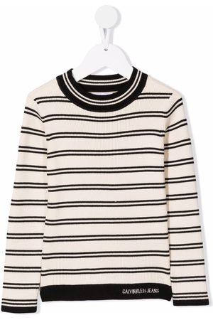 Calvin Klein Niña Playeras - Camiseta a rayas con cuello redondo