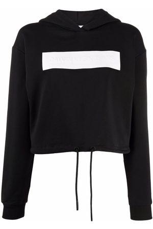 Calvin Klein Mujer Con capucha - Logo-debossed cotton hoodie
