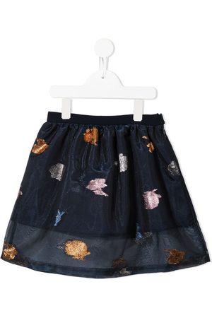 HUCKLEBONES LONDON Rose-embroidered organza midi skirt