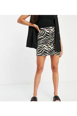 Reclaimed Inspired mom denim skirt in zebra print co
