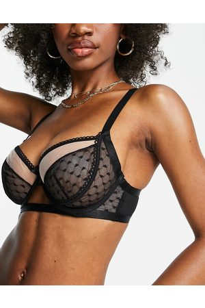 Wolf & Whistle Fuller Bust heart mesh bra with ruffle detail in black