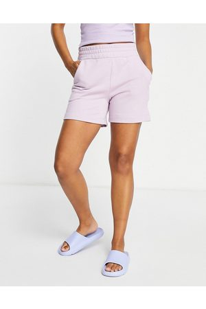 Pieces Lounge sweat short co ord in lilac