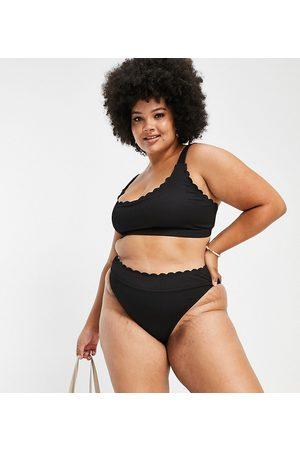 South Beach Exclusive mix and match scallop high leg bikini bottom in black
