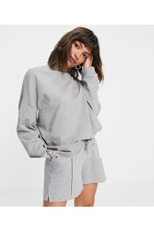 ASOS Summerweight tracksuit oversized sweat / sweat short with pintuck in organic cotton in grey marl