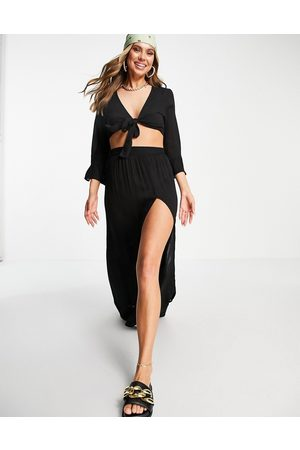 South Beach Tie front top with extreme slit maxi