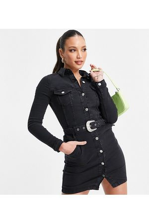 Parisian Tall Belted western dress in charcoal