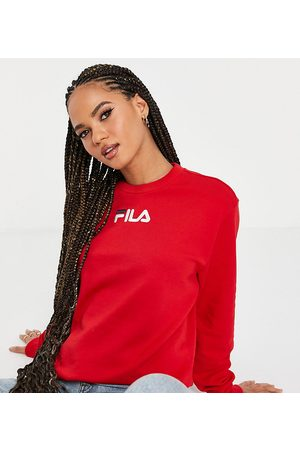 Fila Large chest logo oversized sweatshirt in red exclusive to ASOS