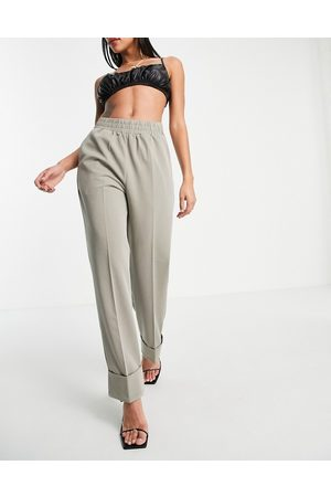4th & Reckless 4th + Reckless cuff detail tailored trousers in sage green