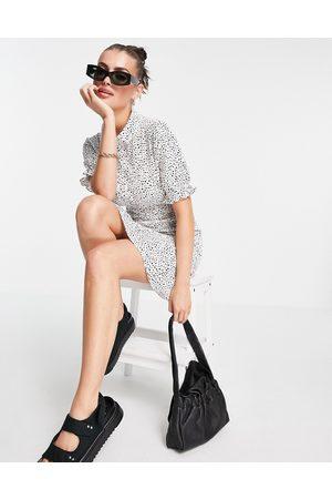 Vero Moda Shirred mini shirt dress in white & black spot