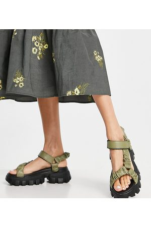 Public Desire Wide Fit Expectation chunky sandals in olive