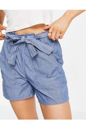Vero Moda Organic cotton blend chambray shorts with tie waist in blue