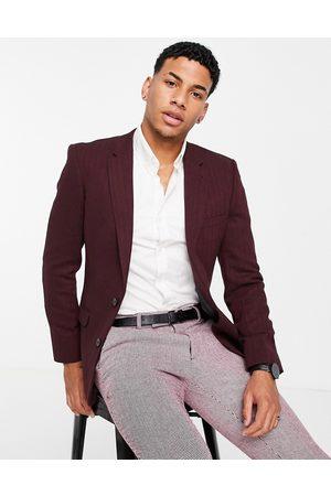 ASOS Hombre Sacos - Wedding skinny wool mix suit jacket in burgundy herringbone
