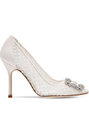 Manolo Blahnik Zapatos De Tacón Hangisi De Encaje Y Satén 105mm