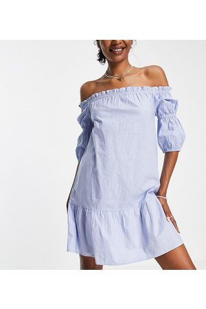 Influence Mujer Casuales - Off shoulder mini dress in blue stripe