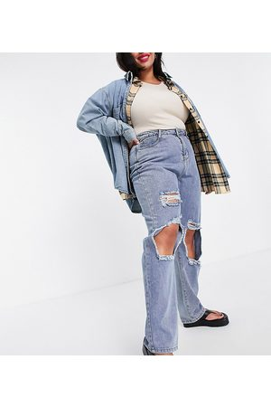In The Style Plus X Olivia Bowen distressed denim straight leg jean in washed blue